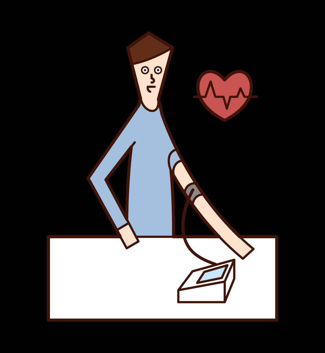 血圧を測定する人(男性)のイラスト
