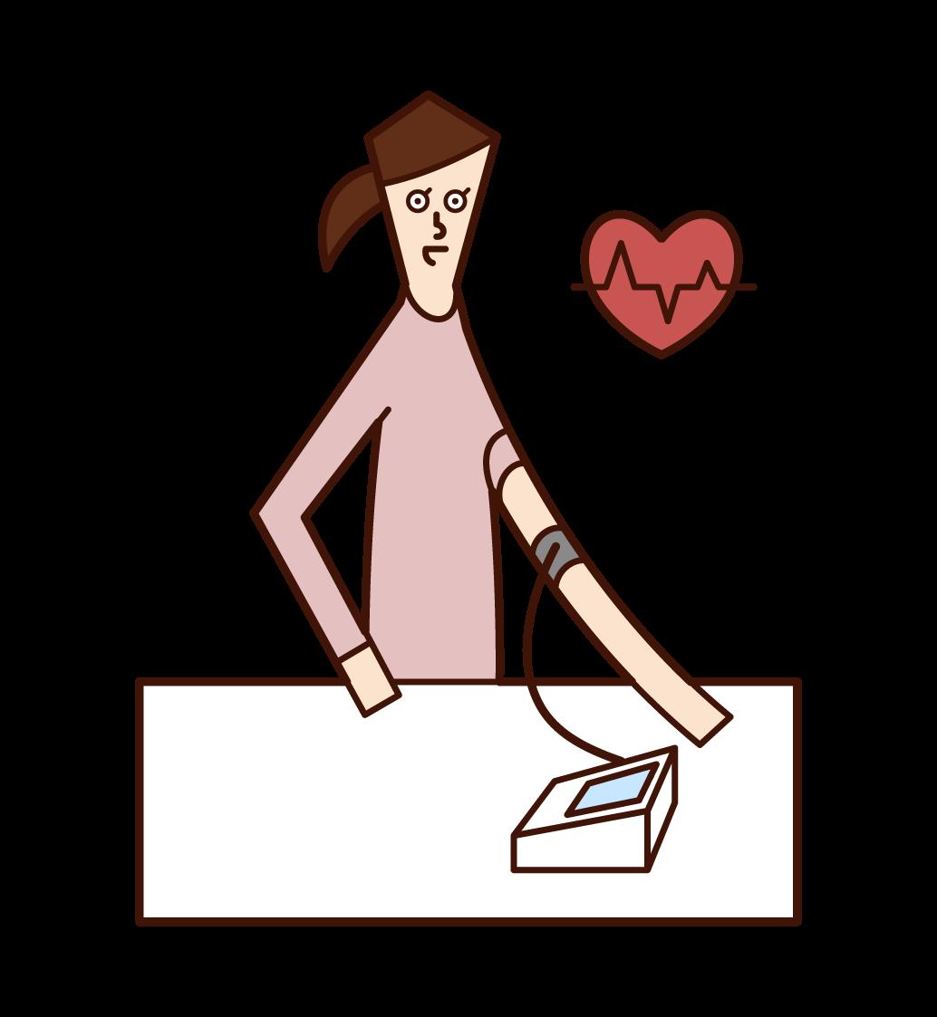 血圧を測定する人(女性)のイラスト