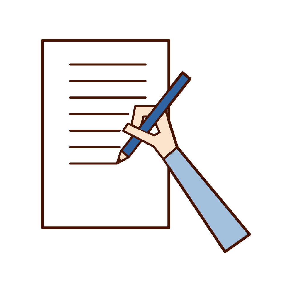 an illustration of a hand writing on paper