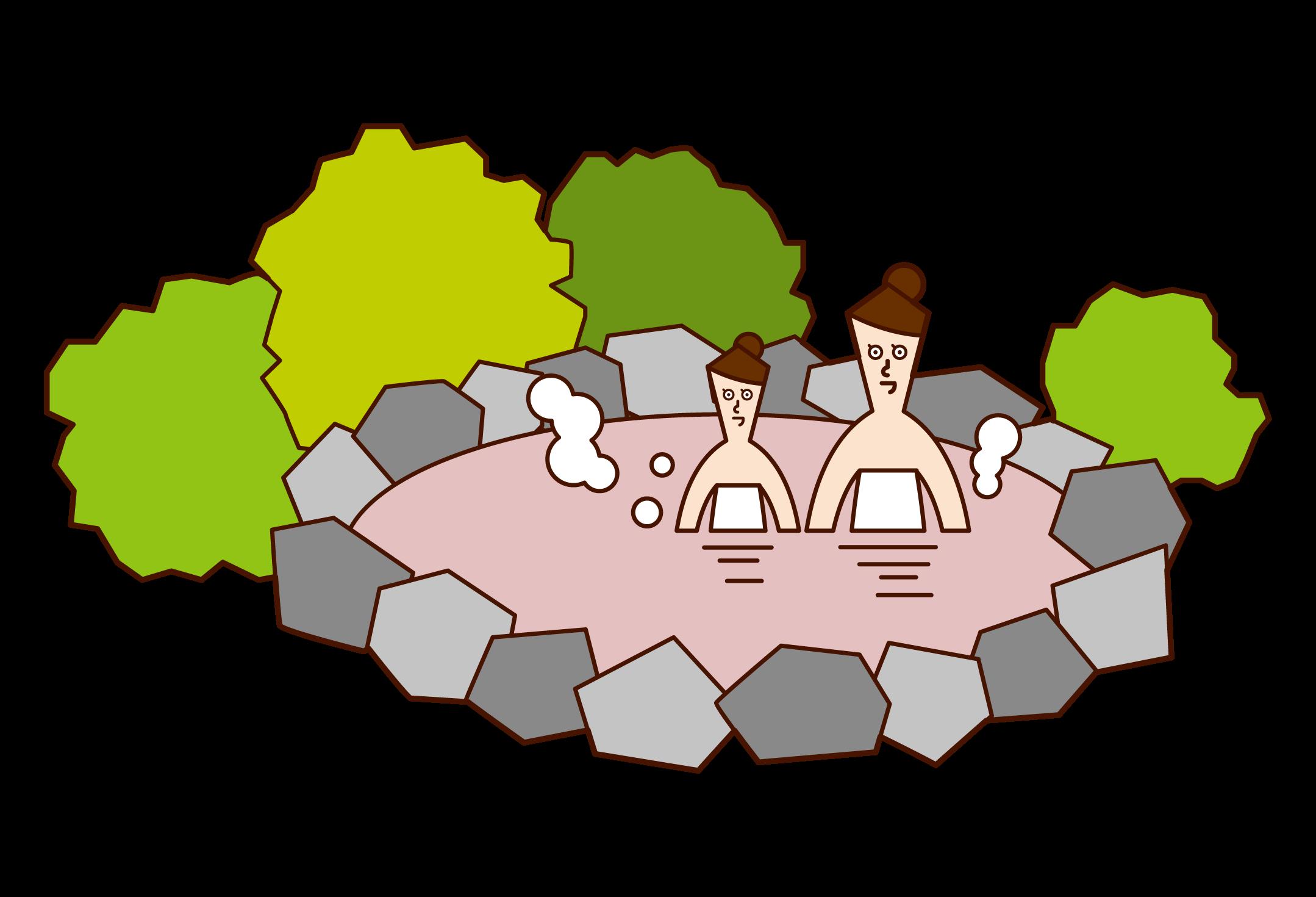 温泉に入る親子(女性)のイラスト