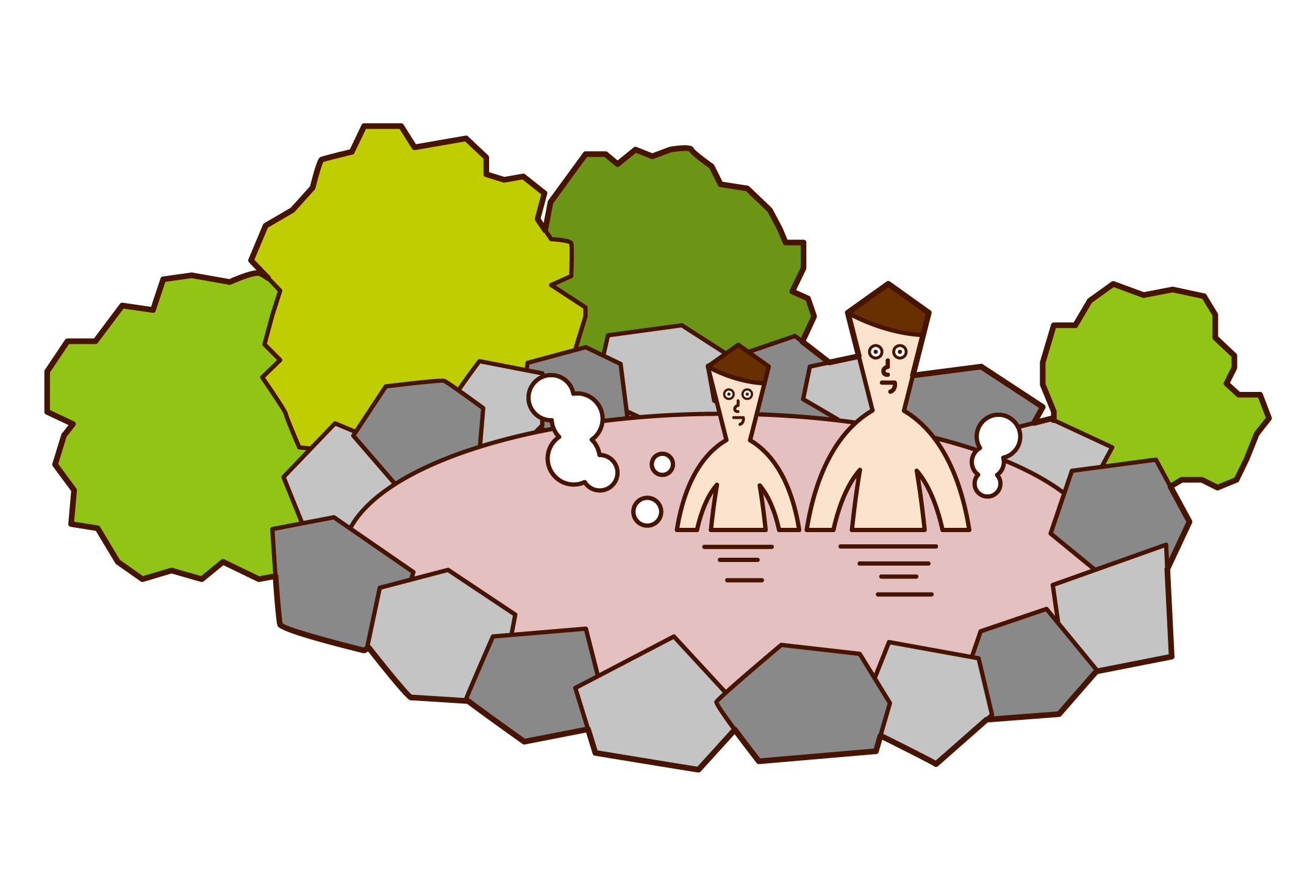 温泉に入る親子(男性)のイラスト