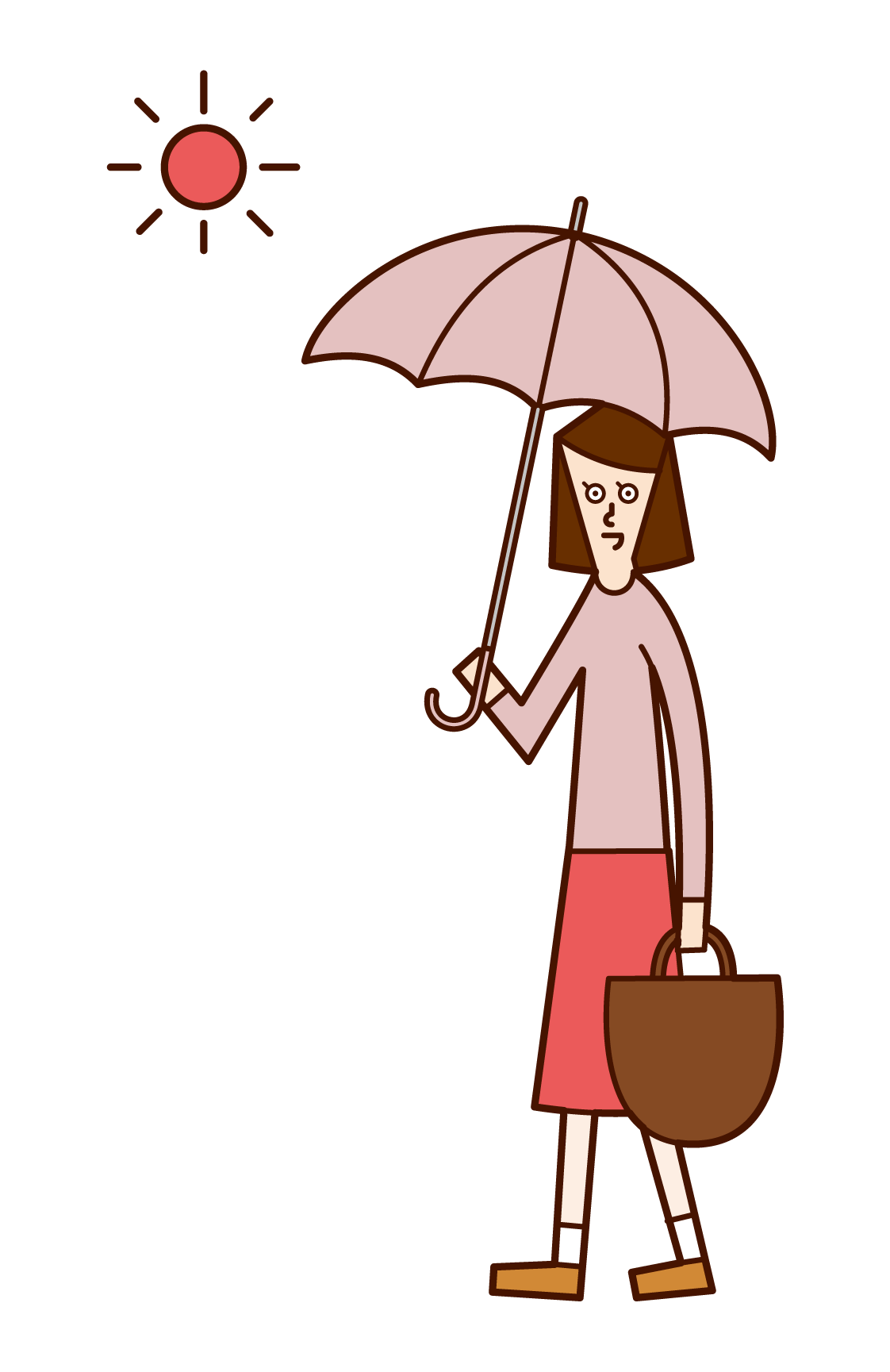 Illustration of a woman walking with a parasol