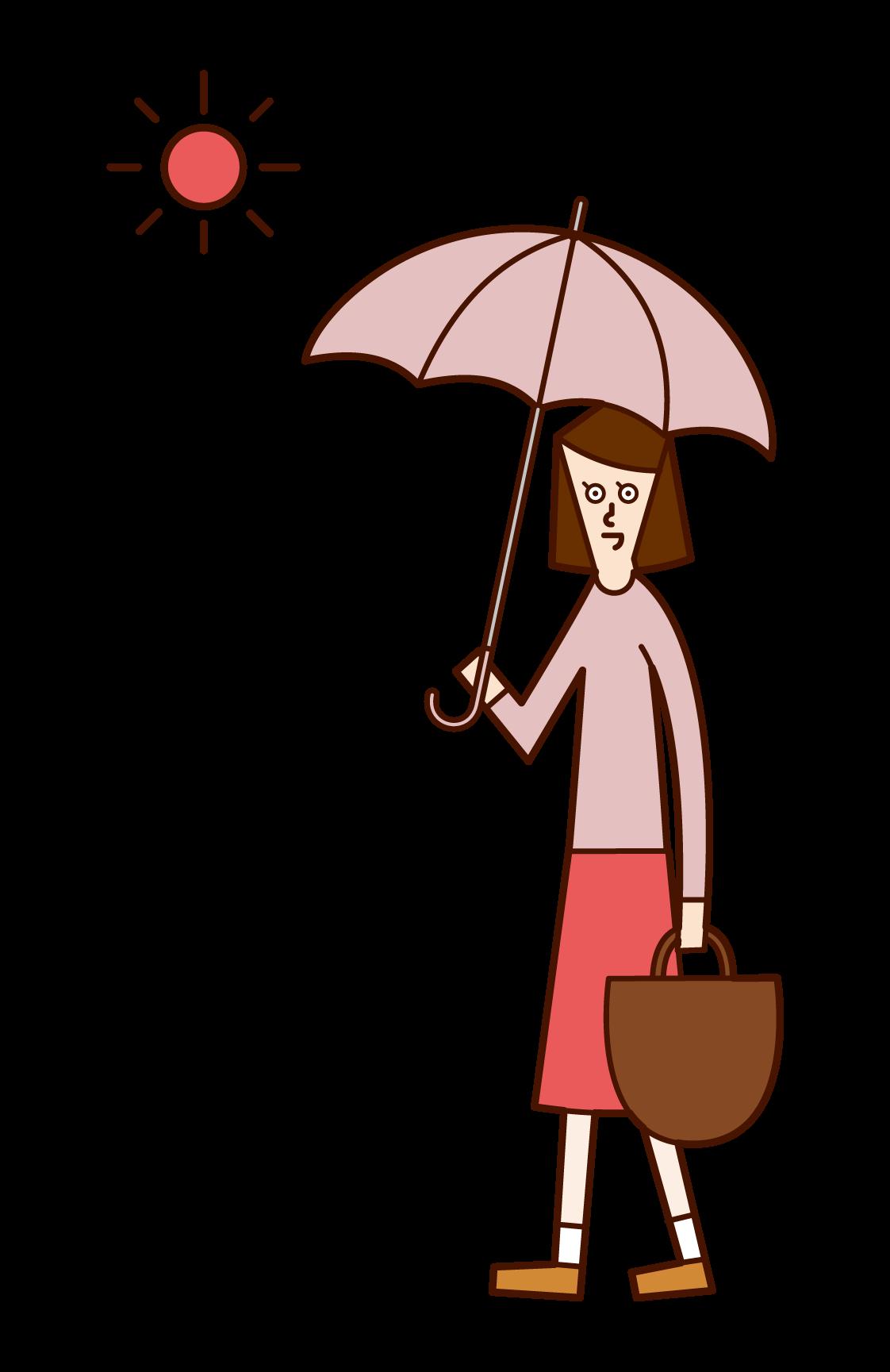 日傘をさして歩く人(女性)のイラスト