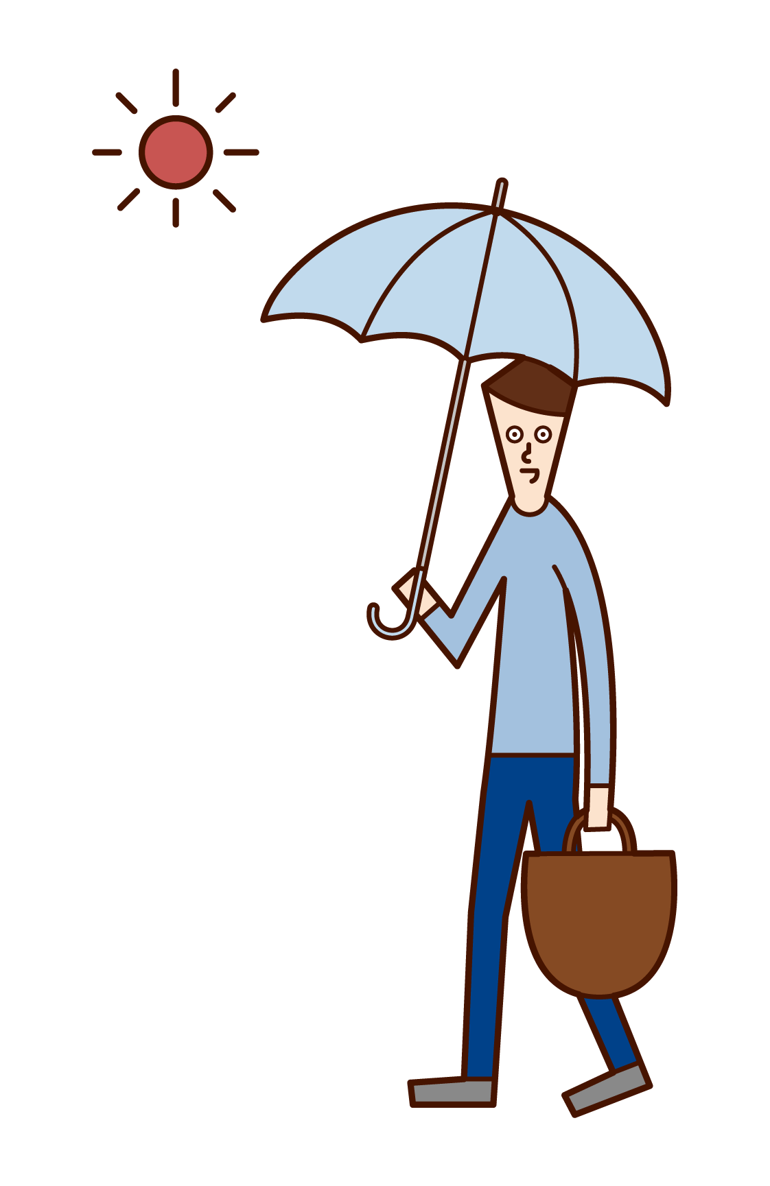 Illustration of a man walking with a parasol
