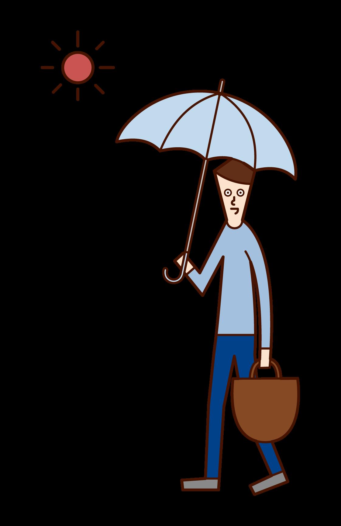 日傘をさして歩く人(男性)のイラスト