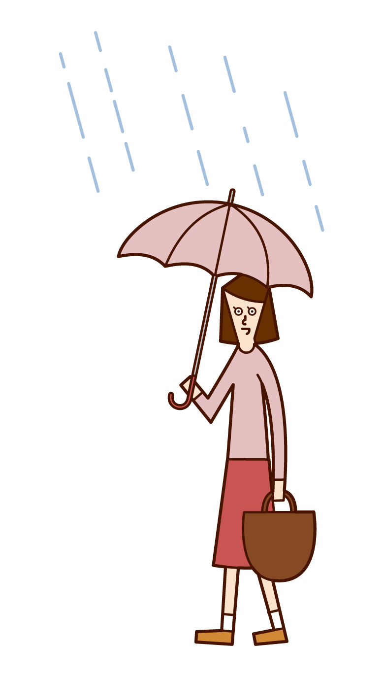 Illustration of a woman walking with an umbrella