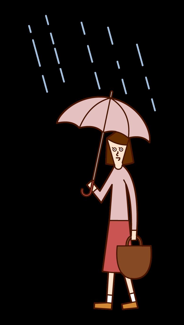 우산을 들고 걷는 여성의 일러스트