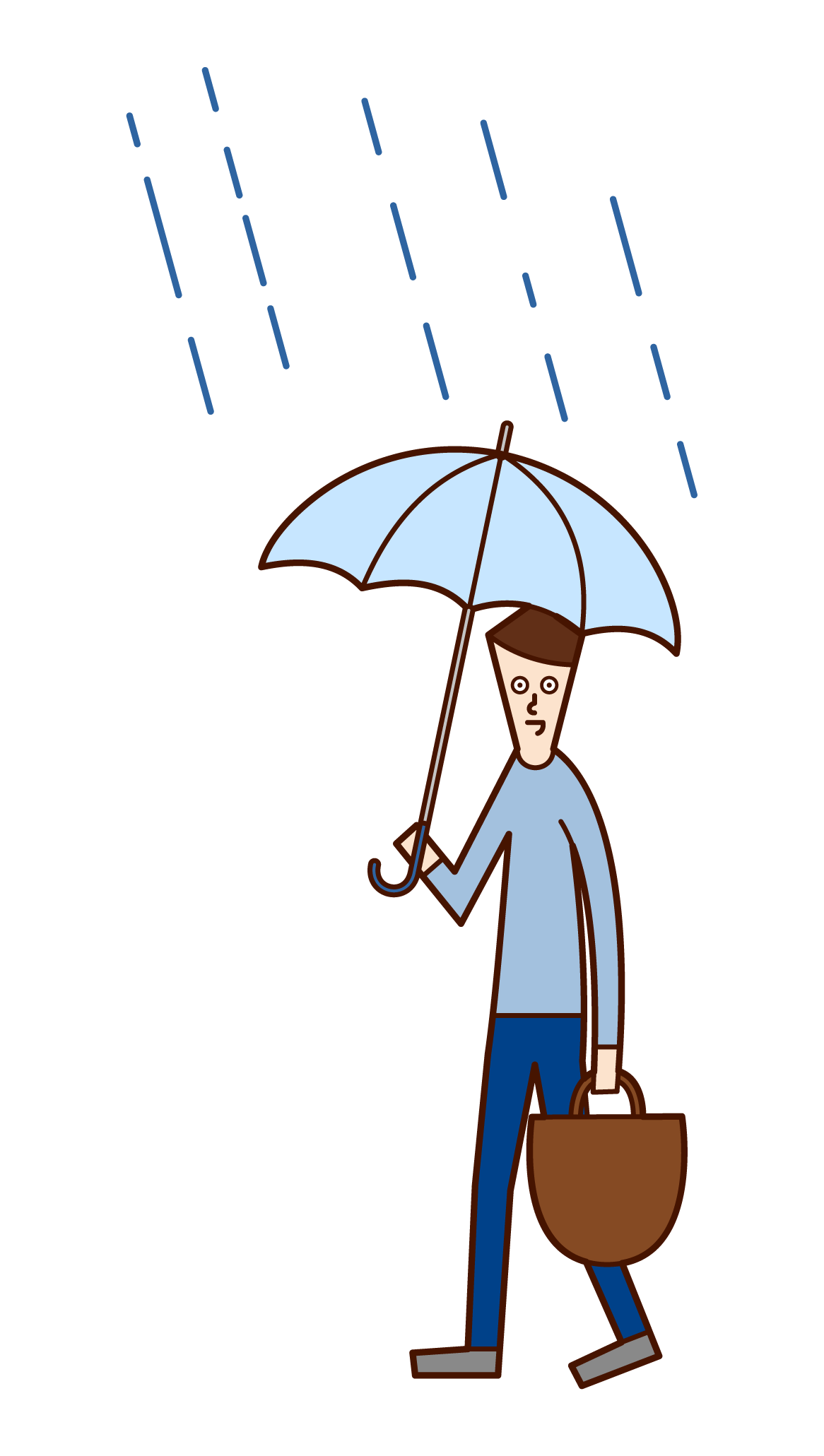 Illustration of a man walking with an umbrella