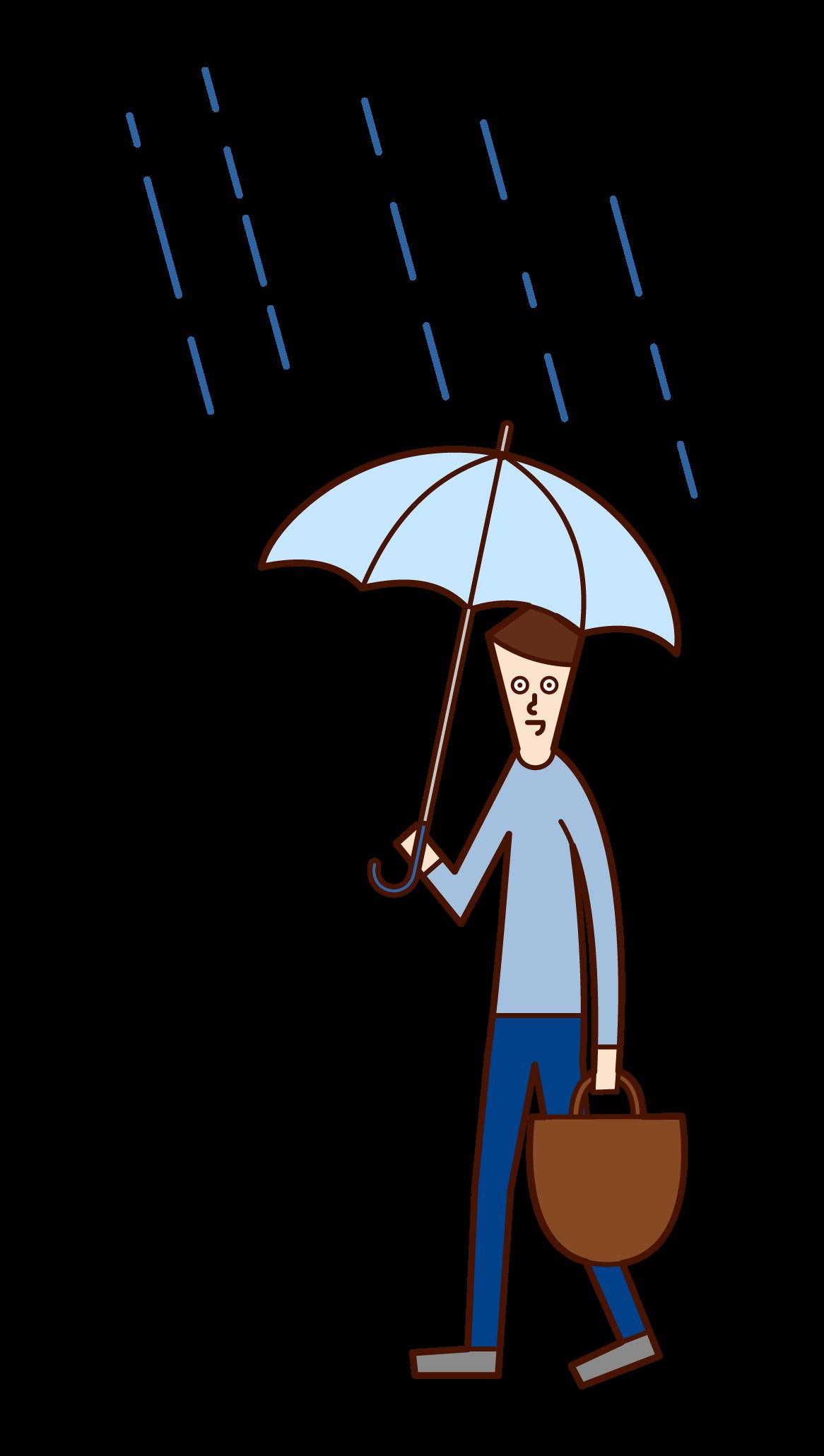 우산을 들고 걷는 남자의 일러스트