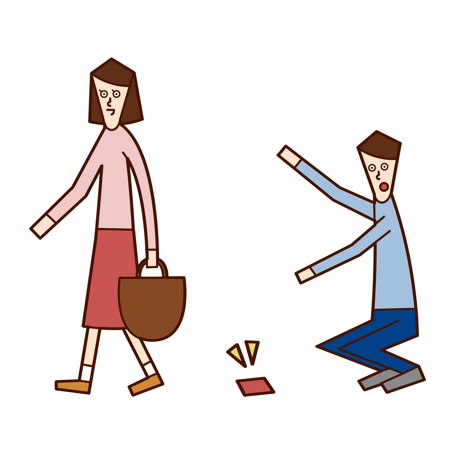 Illustration of a man picking up a lost object