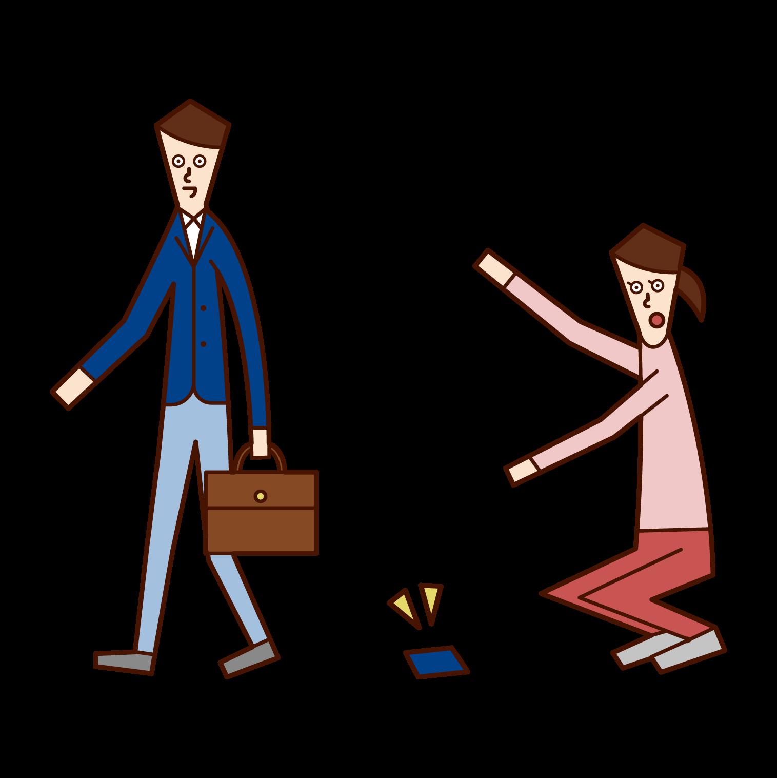 落し物を拾う人(女性)のイラスト