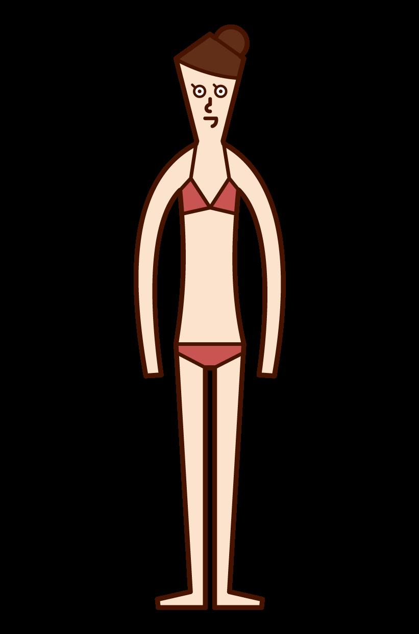 水着姿の人(女性)のイラスト