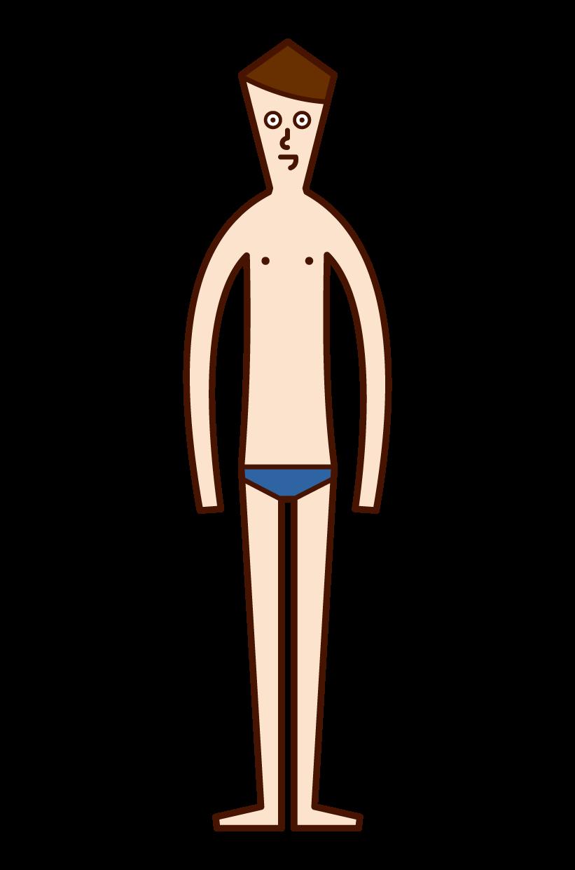 水着姿の人(男性)のイラスト