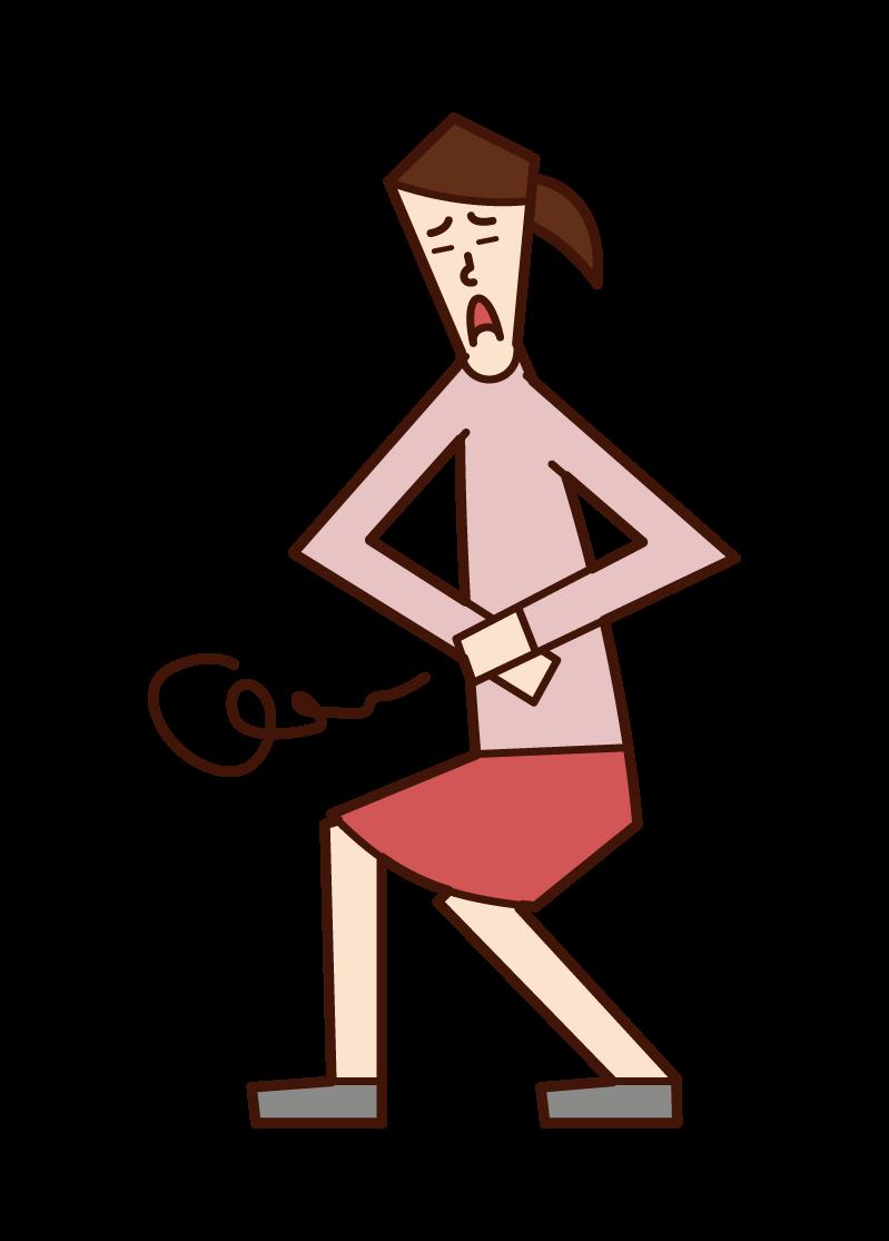 腹痛を抱える人(女性)のイラスト