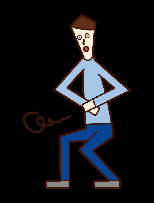 腹痛を抱える人(男性)のイラスト