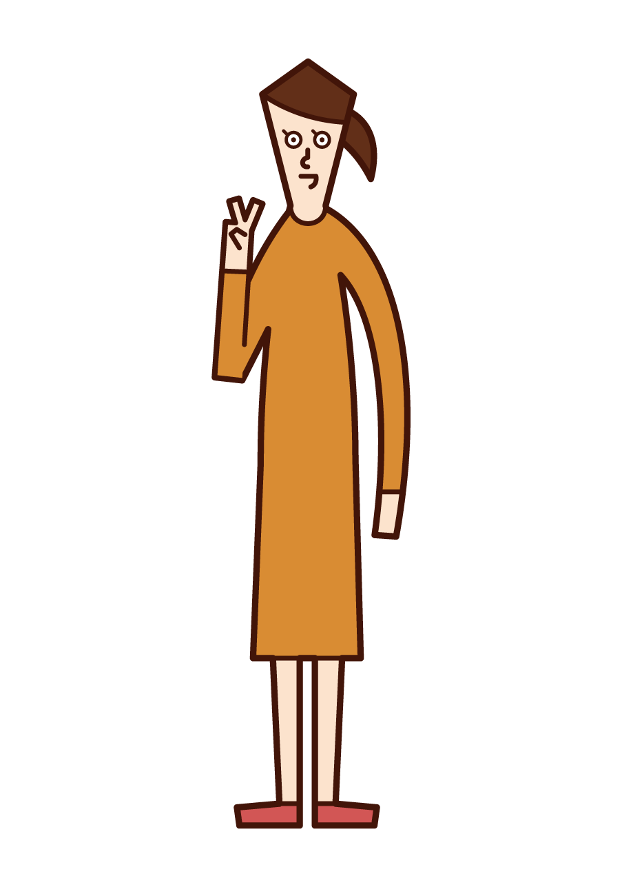 Illustration of a person (a woman in one piece) who signs a piece with both hands