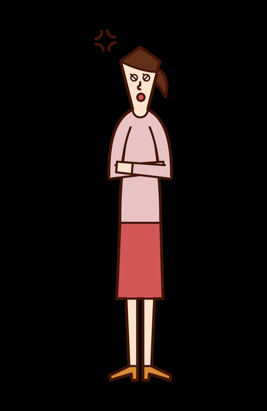 腕を組んで怒る人(女性)のイラスト