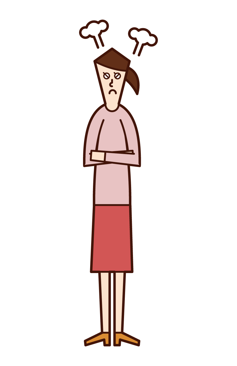 Illustration of a person (woman) who gets angry with his arms folded