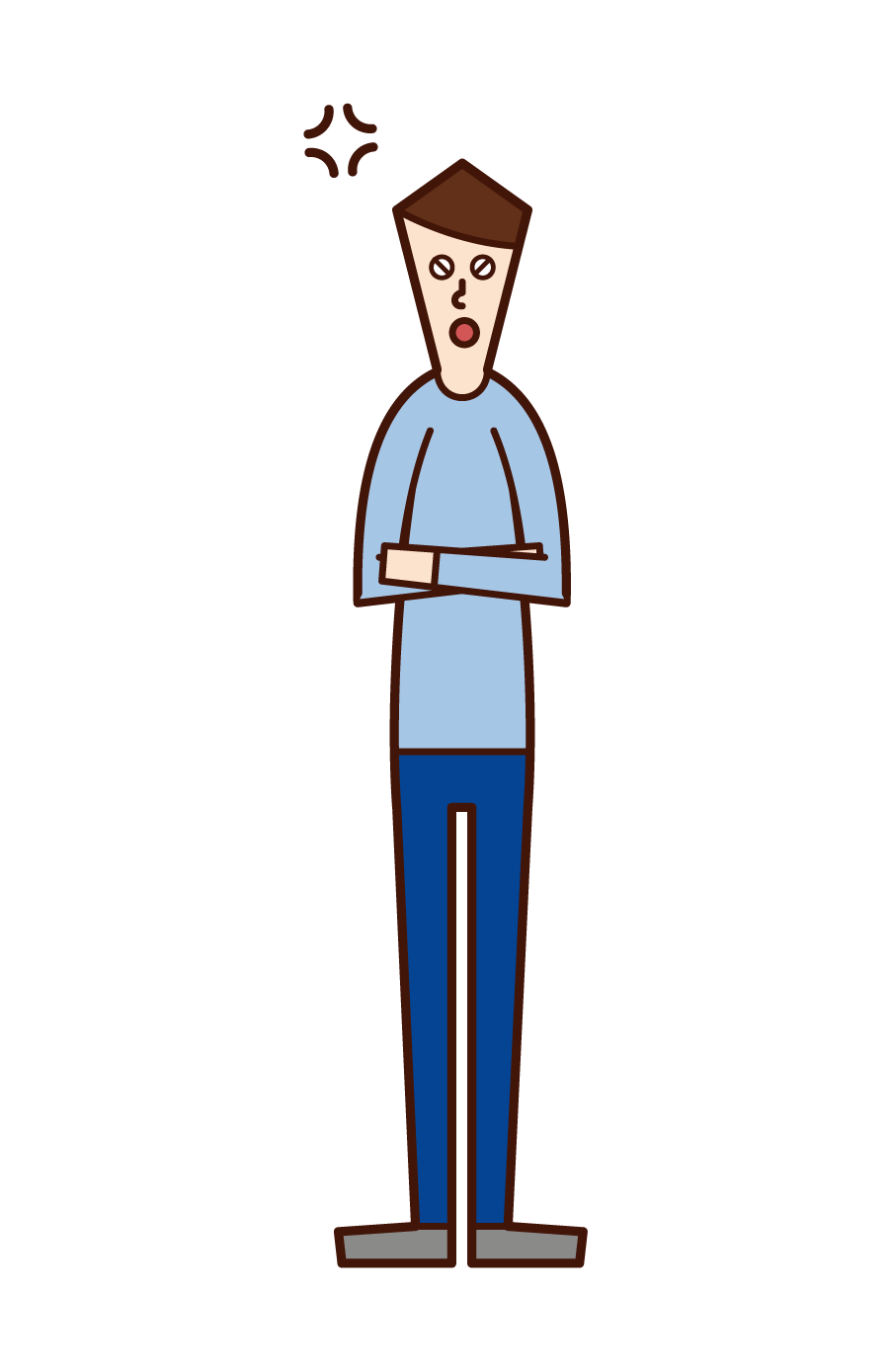 Illustration of a man arm in his arm and gets angry