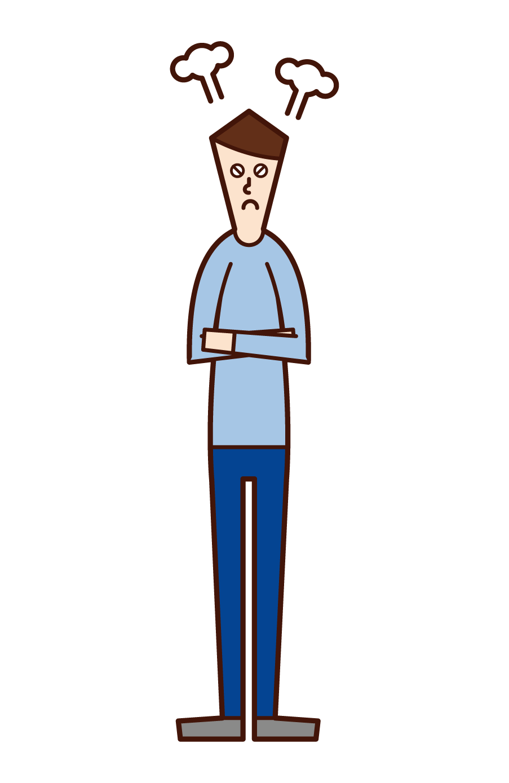 腕を組んで怒る人(男性)のイラスト