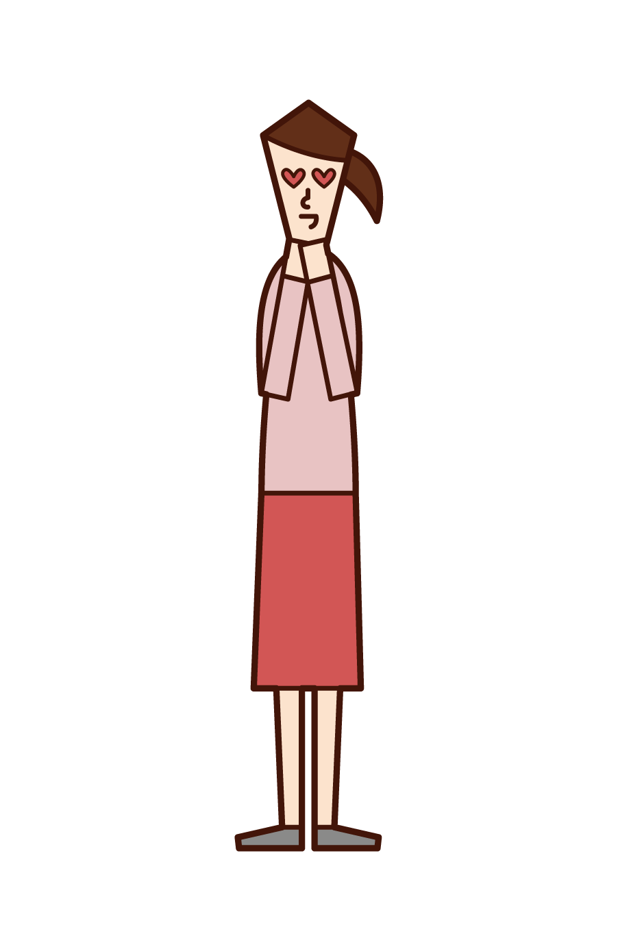 Illustration of a woman who falls in love at first sight