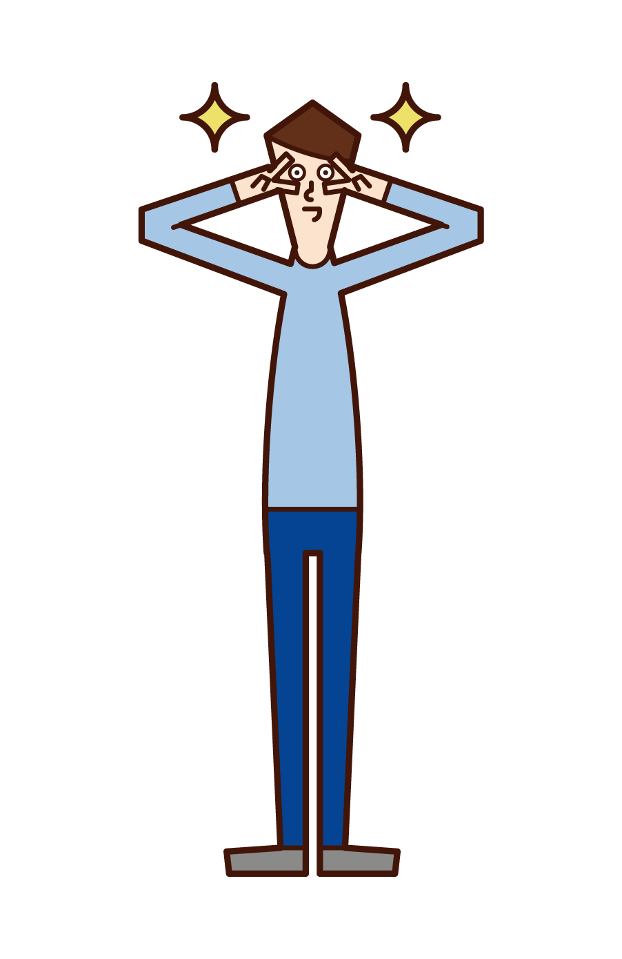 Illustration of a person (man) those who make a peace sign in front of their face