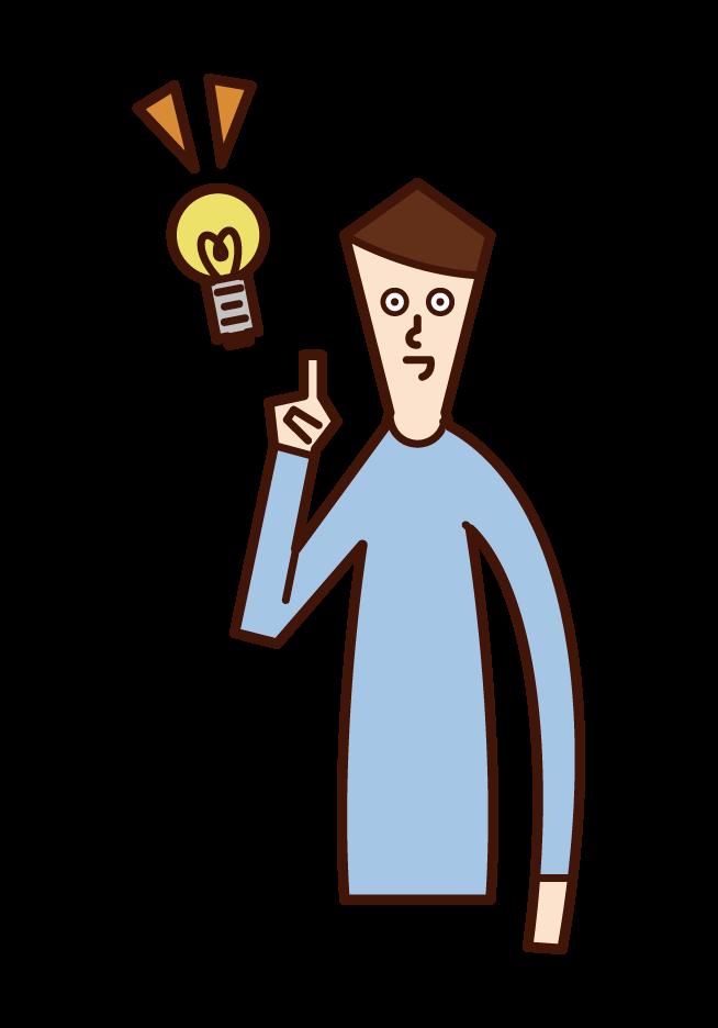 いいアイデアを閃いて人差し指を立てる人(男性)のイラスト