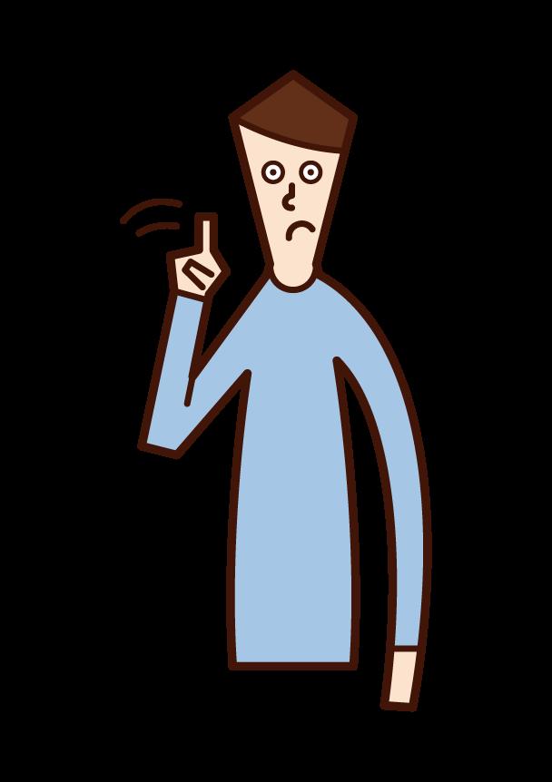 指を横に振りながら注意喚起をする人(男性)のイラスト