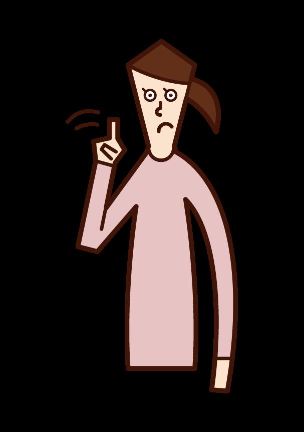 指を横に振りながら注意喚起をする人(女性)のイラスト