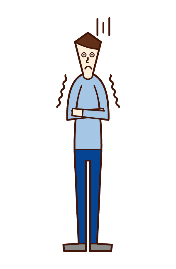 Illustration of a man who freezes in the cold