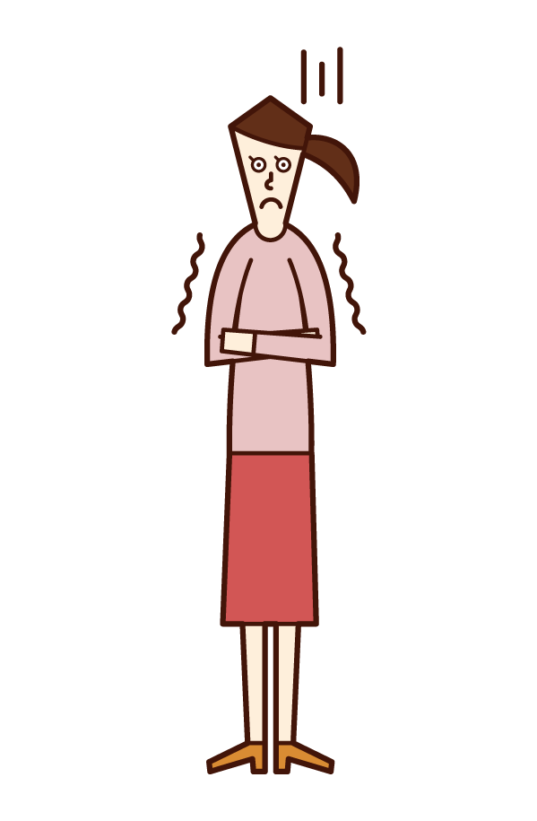 Illustration of a cold and freezing person (woman)