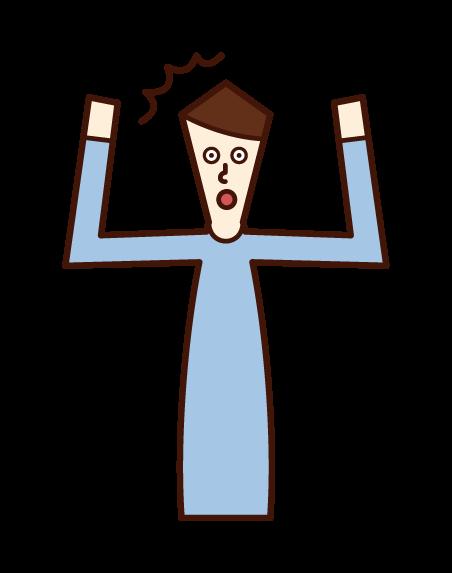 両手を上げてビックリする人(男性)のイラスト