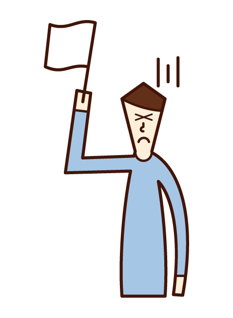 Illustration of a man who raises a white flag and surrenders