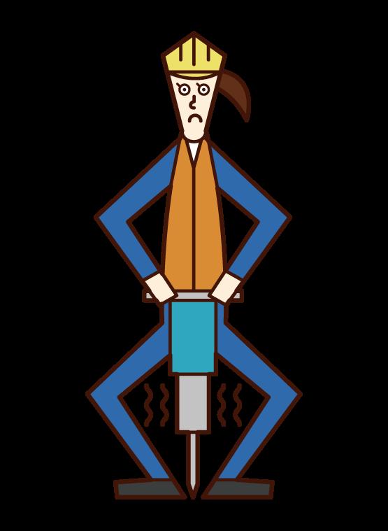 道路建築工人(婦女)的插圖