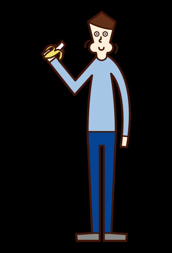 バナナを食べる人(男性)のイラスト