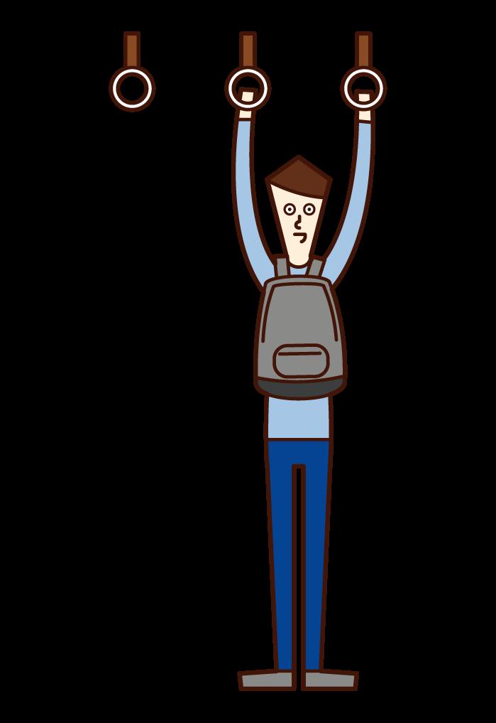 電車内でカバンを体の前に背負う人(男性)のイラスト