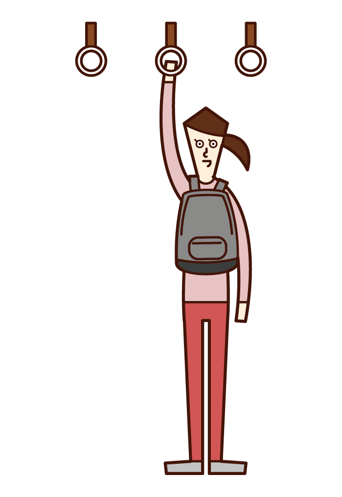 Illustration of a woman carrying a bag in front of her body on a train