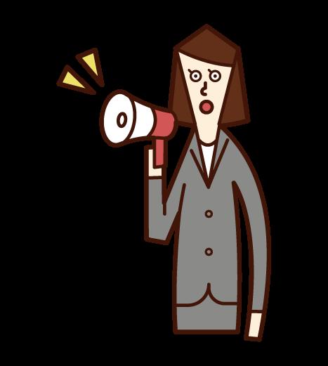 メガホンを使って喋る人(女性)のイラスト