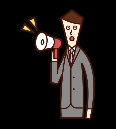 メガホンを使って喋る人(男性)のイラスト