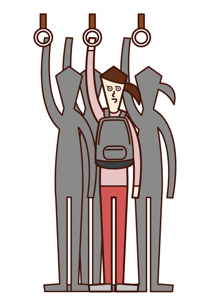 Illustration of a woman carrying a bag in front of her body in a crowded train
