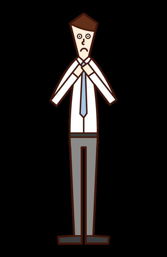 ネクタイを絞める人(男性)のイラスト
