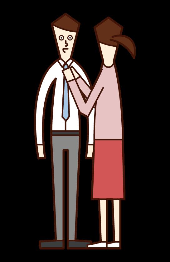 男性のネクタイを絞めてあげる人(女性)のイラスト