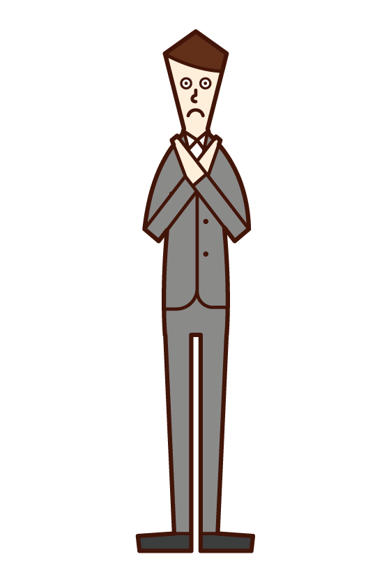 Illustration of a man in a suit who does a gesture with a sign