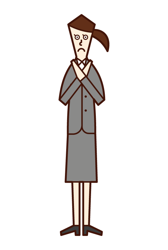 Illustration of a person (a woman in a suit) who does a gesture with a sign