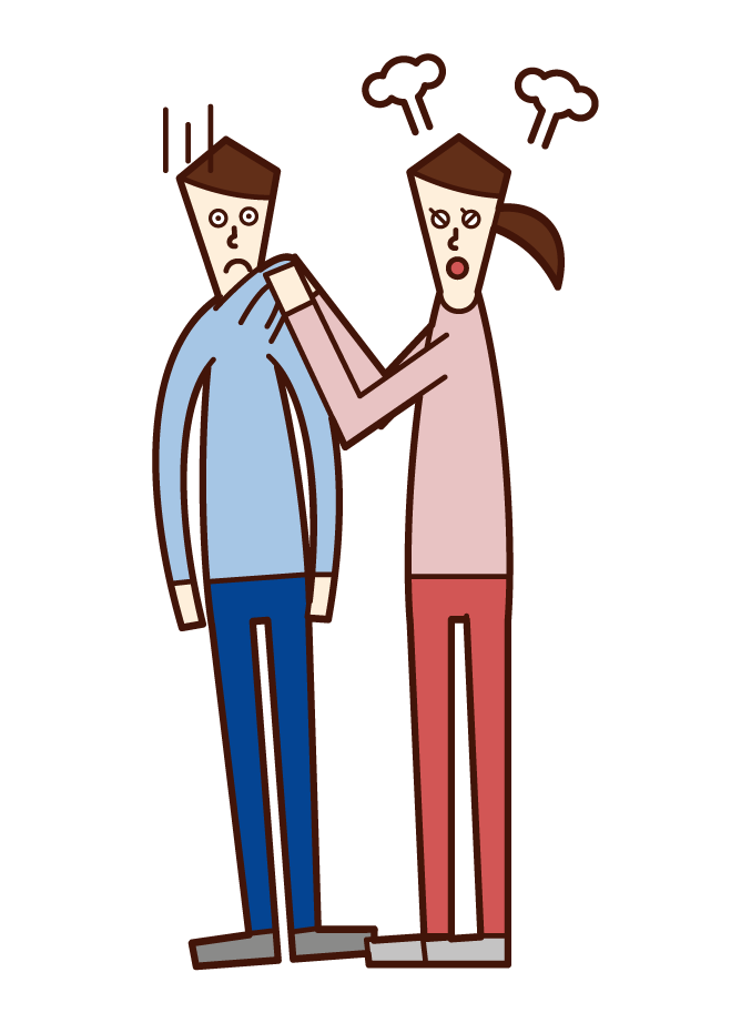 Illustration of a woman who grabs the other person's chest and gets angry