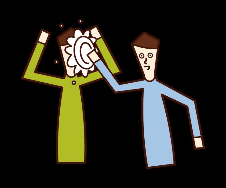 パイ投げを楽しむ人(男性)のイラスト