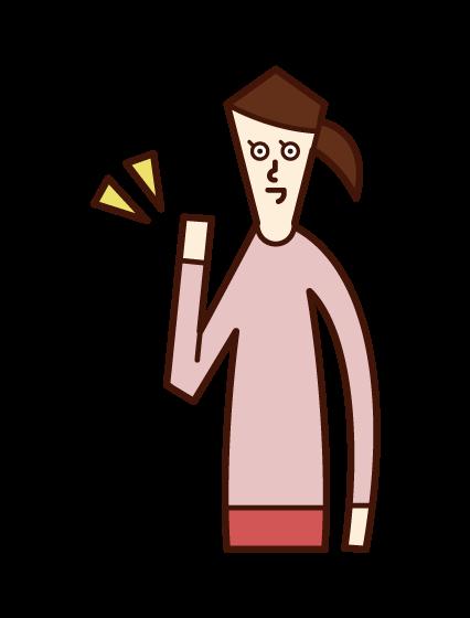 小さく手を上げる人(女性)のイラスト