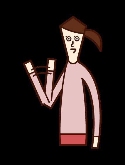 小手揮舞者(女性)的插圖