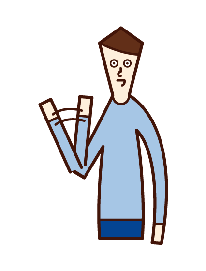 Illustration of a man waving a small hand