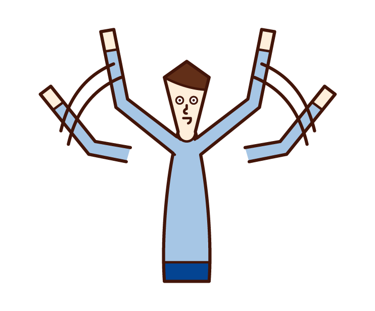 Illustration of a man waving his hand with both hands